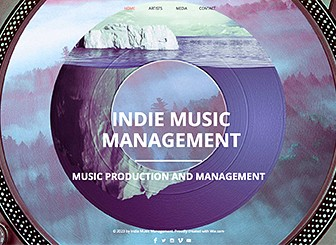 Indie Music Productions Template - A trendy and memorable website template to represent your music production company. Fully customizable, this template includes ample space for multimedia, a retro background image, and warm color scheme. Start editing now to promote your production company with your own unique website.