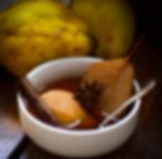 poires e cigns pochés aux épices chaï