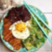 recette salade verte à la betterave sashimi et oeuf au plat