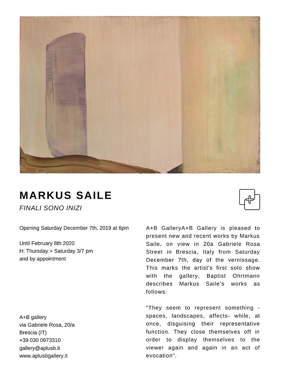 Markus Saile, A+B Gallery Brescia, Italy