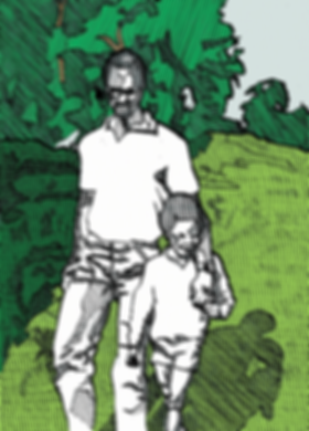 black fatherhood illustration dad and son