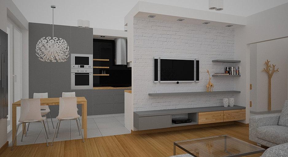 Oes architekci projektowanie wn trz krak w for Biala cegla w salonie