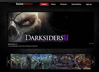 Game Website Template - Dark and edgy, this template awaits your gaming or media company. Show off your killer graphics with slideshows and videos, and update your site visitors with your latest news.  Start editing and get your game on(line)!