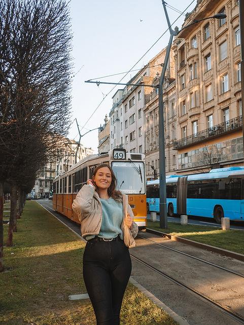 bUDAPEST TRAM SHE TRAVELLED THE WORLD
