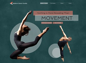 Modern Dance Studio Template - Shine a spotlight on your dance company or studio with this graceful and contemporary template. Upload images and videos to showcase your talents and customize the text to promote classes and upcoming events. Start editing to make the leap online!