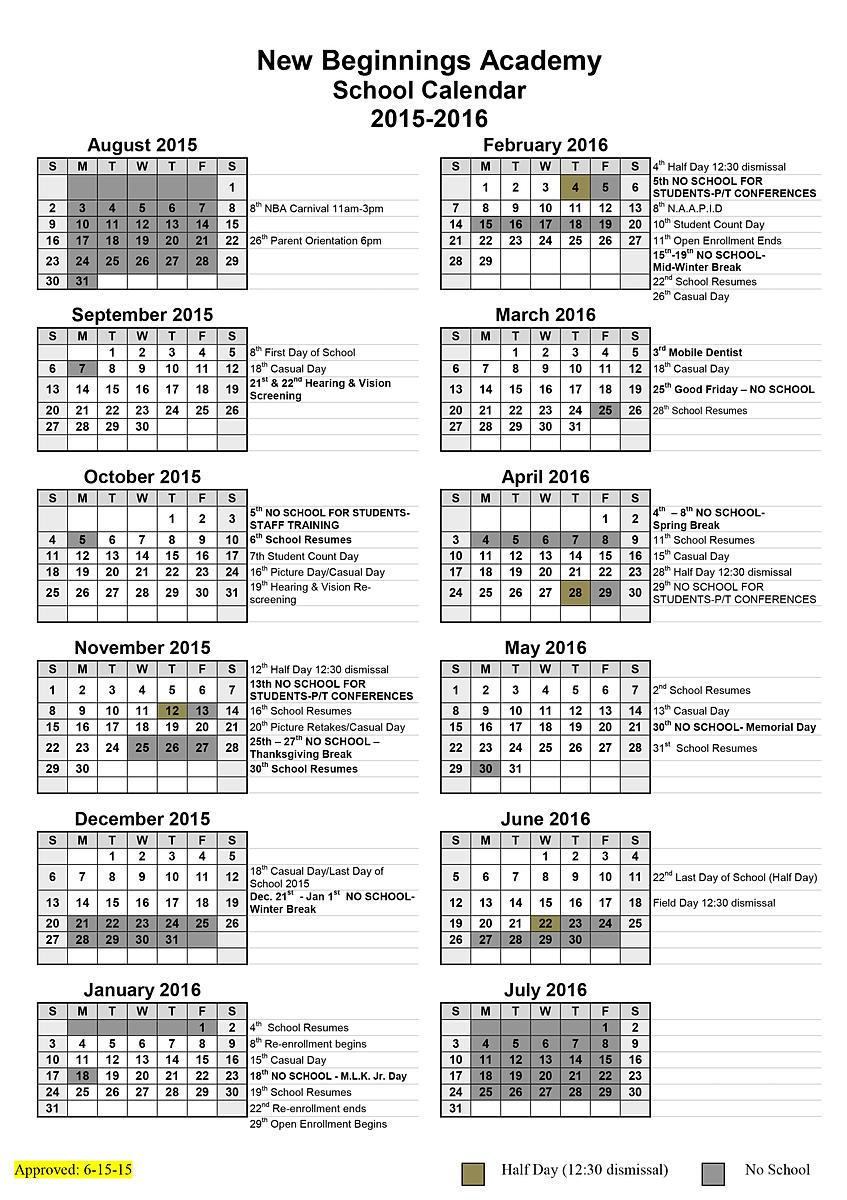 School Timetables 2015 2015-2016 School Calendar