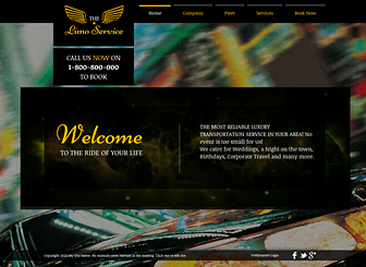 Limo Service Template - Call attention to your limousine or chauffeur company with the flashy background and bold colors of this template. The homepage video creates a feeling of glamour and movement, while the inner pages allow you to describe your company and advertise your specialty services.