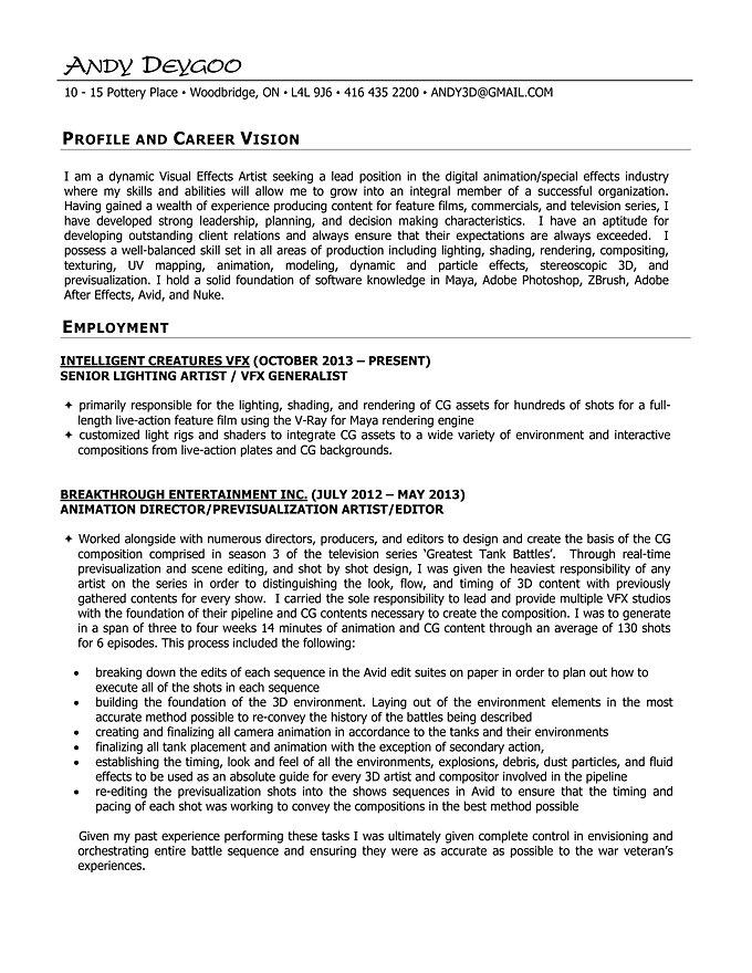 Vfx Resume Samples] Download Vfx Resume Samples ...