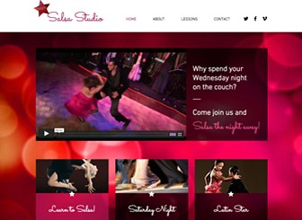 Latin Dance Studio Template - Turn up the heat with this spicy website template. Add text and upload images to advertise classes, promote upcoming events, and give viewers a taste of your studio. Start editing to take your business online!