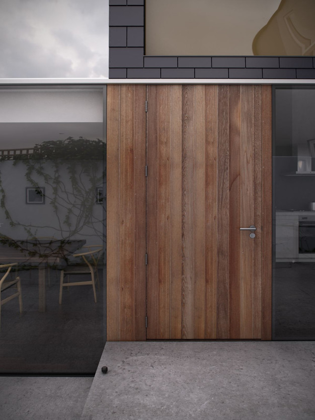 ... Bordering Panels, This Door Makes A Dramatic First Impression By  Offering A Surprising Substantial And Weighty Look Among A Perfect  Glass Clad Exterior.