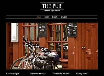 Pub and Bar Template - Catering to the needs of pub and bar owners, this basic yet bold website template allows you to express the spirit of your establishment. This is the perfect place to share photos, publish your menu, and advertising upcoming events.