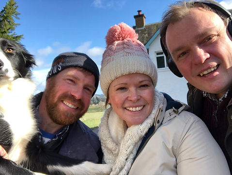 Dave and Scene and Herd's Anna Davies, with Stand-up Farmer Jim Smith and Floss the dog