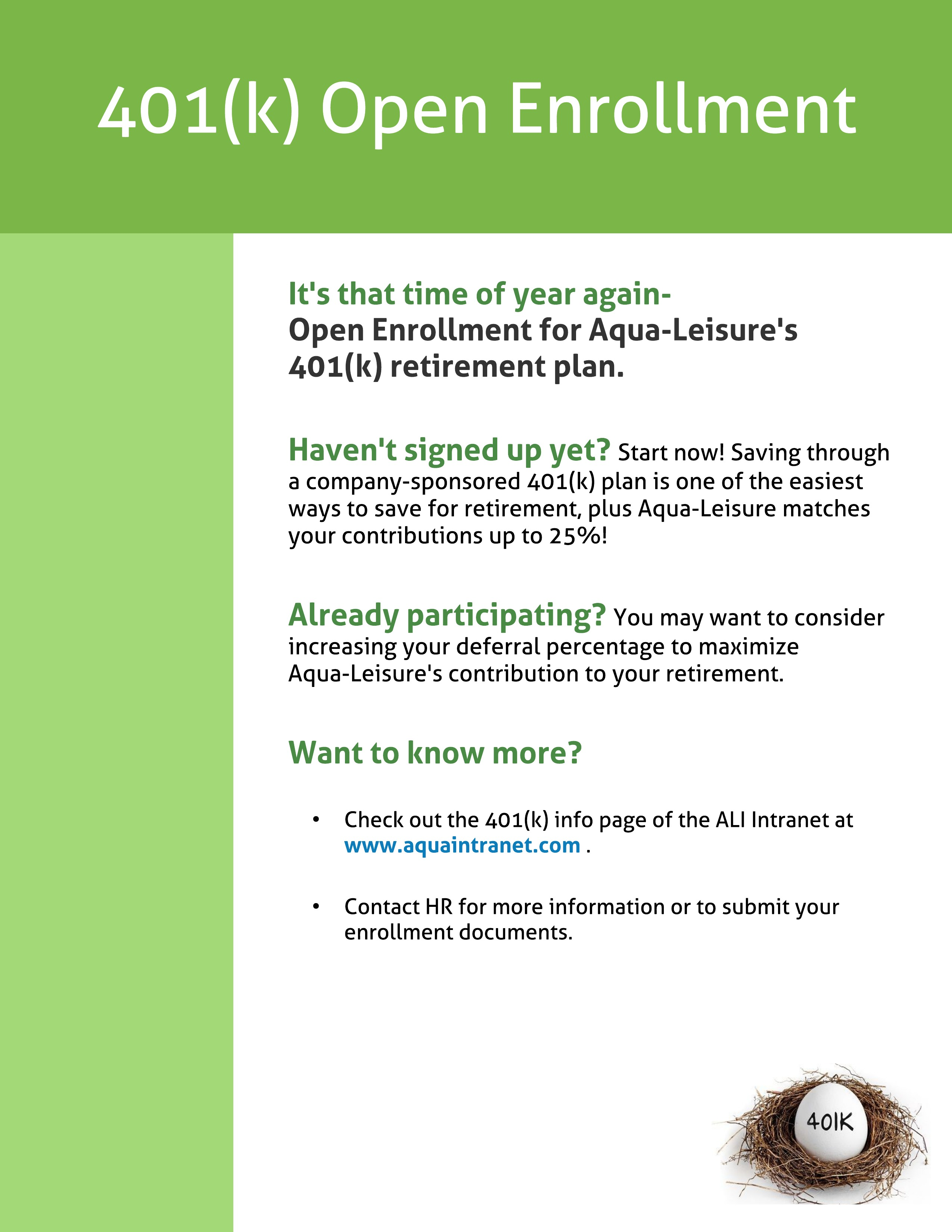 401 k open enrollment is march 24 31 aquaintranet .