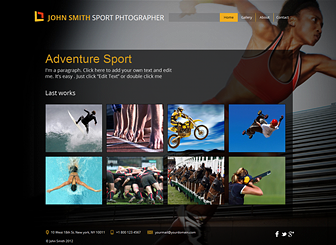 Sport Photographer Template - This template's eye-catching background captures the energy and motion of the athletic world. Upload images to showcase your photographic skills and add text to describe your projects and qualifications. Start editing to build a stunning online portfolio!