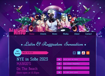 Latin DJ Template - Promote your beats with the vibrant colors and bold design of this free template. Advertise events and upload tracks and videos to let visitors sample your sound. Take your website live and get the party started!