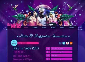화끈한 라틴 DJ 니뇨 Template - 생동감 넘치는 색상과 강렬한 디자인이 인상적인 이 무료 템플릿으로 내 음악을 홍보할 홈페이지를 제작하세요. 지난 이벤트 이미지로 방문자들의 눈길을 끌고, 음원 및 뮤직비디오 링크를 통해 내 음악세계를 공유하세요.