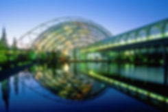 Leipziger Messe: Glashalle am Abend, © LTM/Peter Hirth