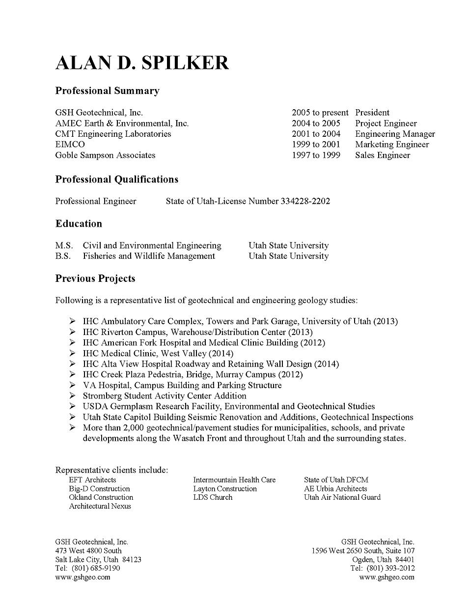 Unusual Utah Engineering Resume Contemporary - Resume Ideas - bayaar ...