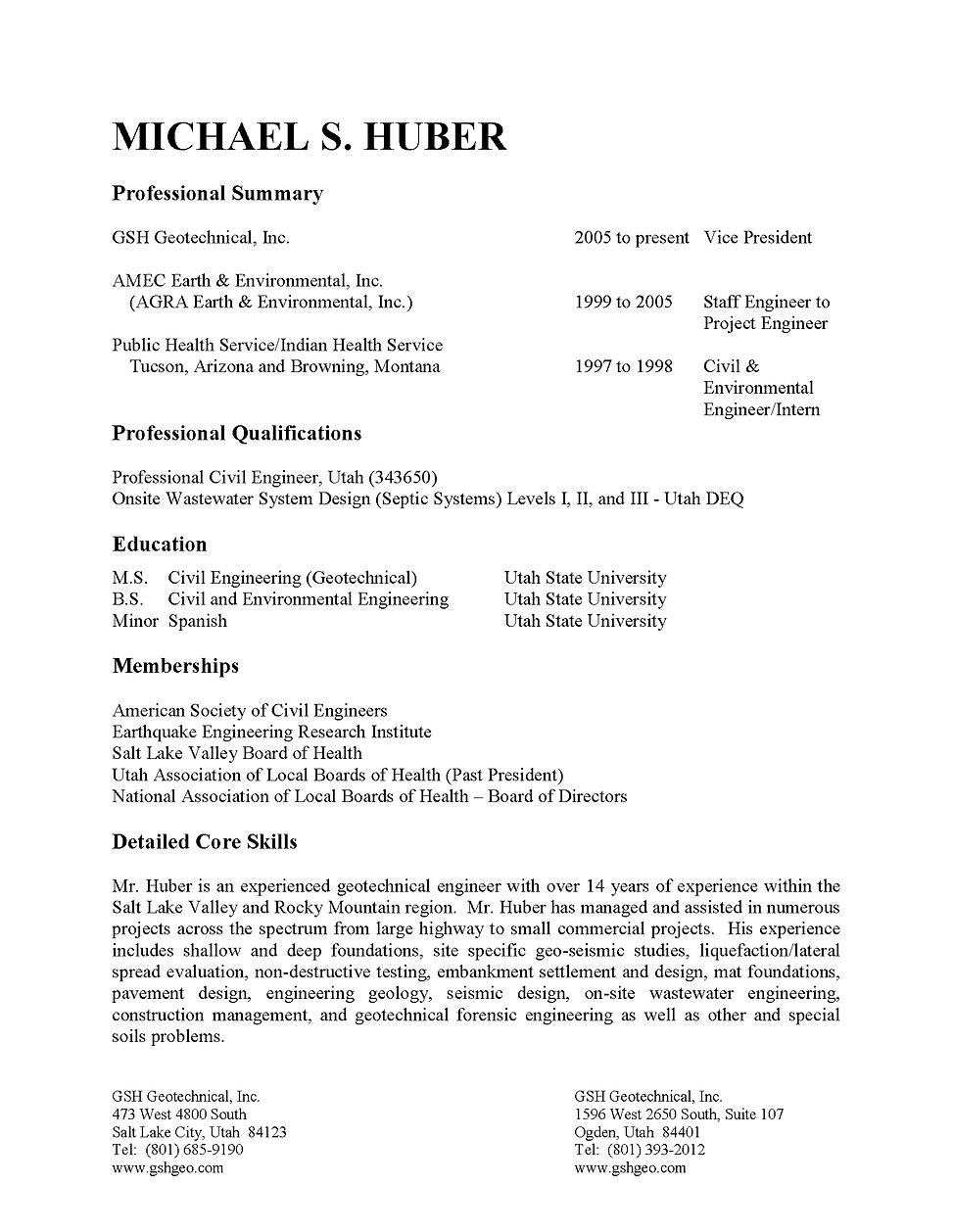 Nice Utah Civil Engineering Resume Elaboration - Administrative ...