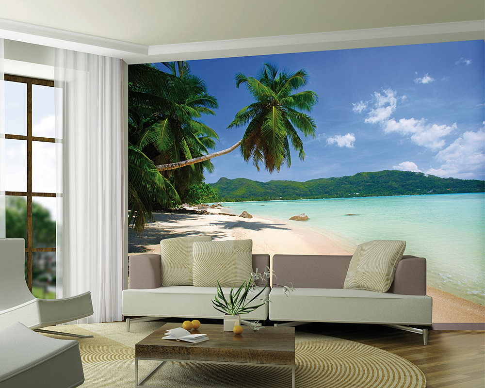 Giant wallpaper mural dream beach view sea sand photo wall for Beach view wall mural