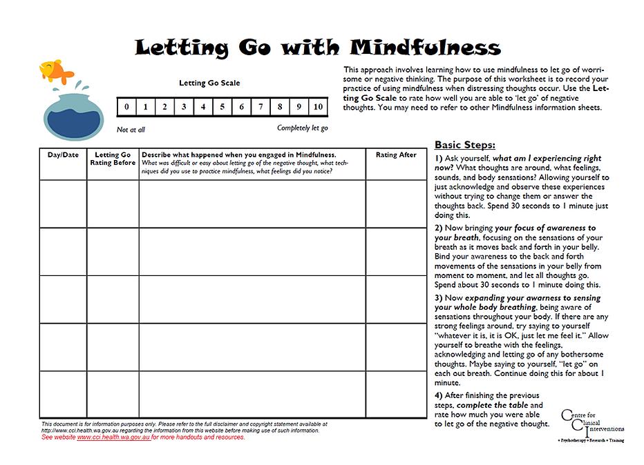 ... Self Control Worksheet. on depression problem solving worksheet