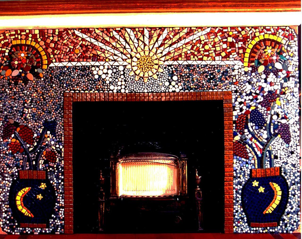 tiny tile fireplace