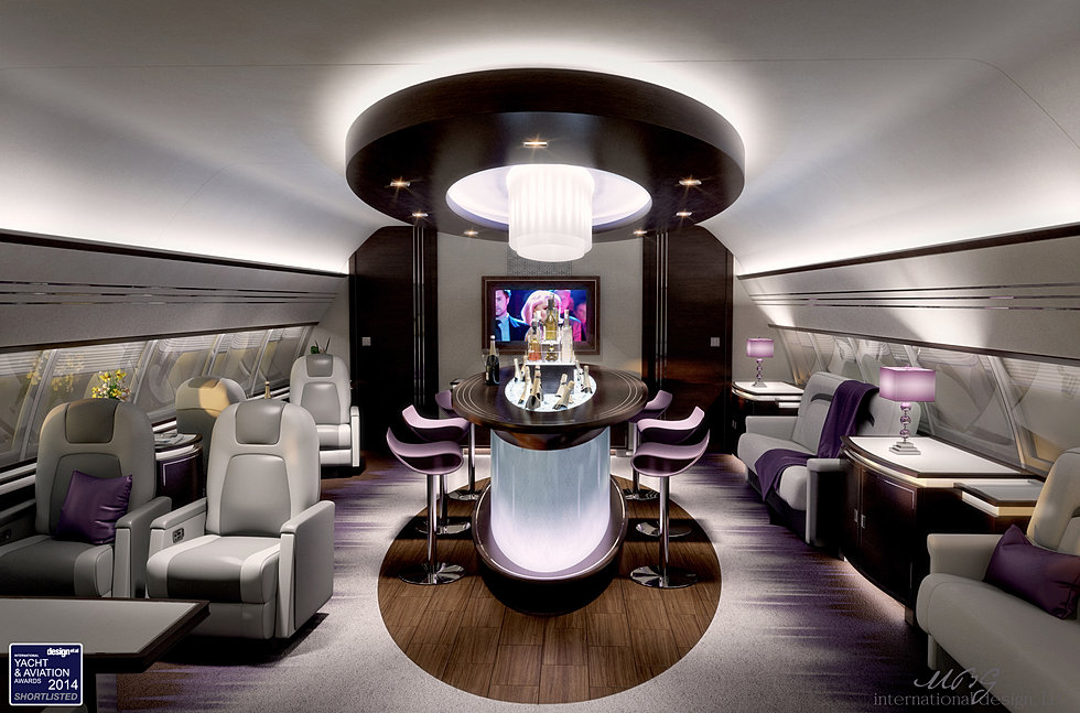 Vip private business aircraft design aircraft interior for Aircraft interior designs