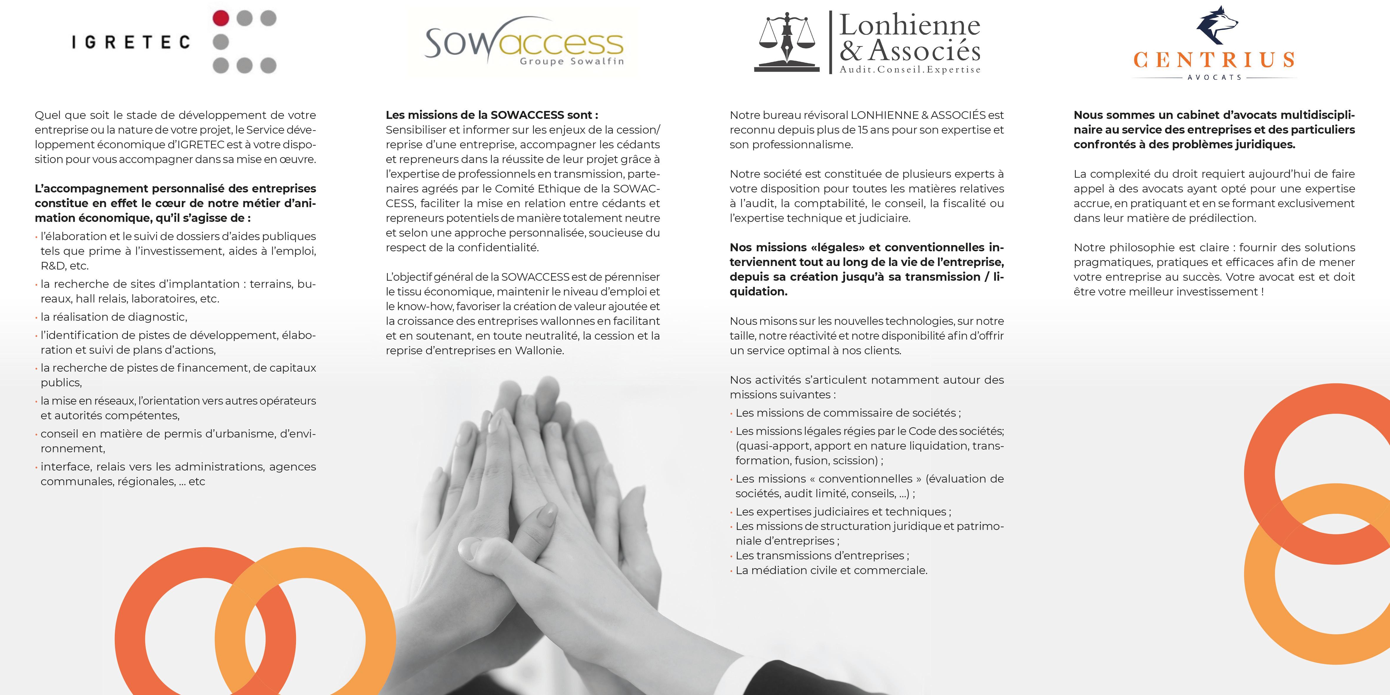 Igretec, Sowaccess, Lonhienne Associés, centrius, Happinext : Transmission eentreprise | cession entreprise | acquisition entreprise