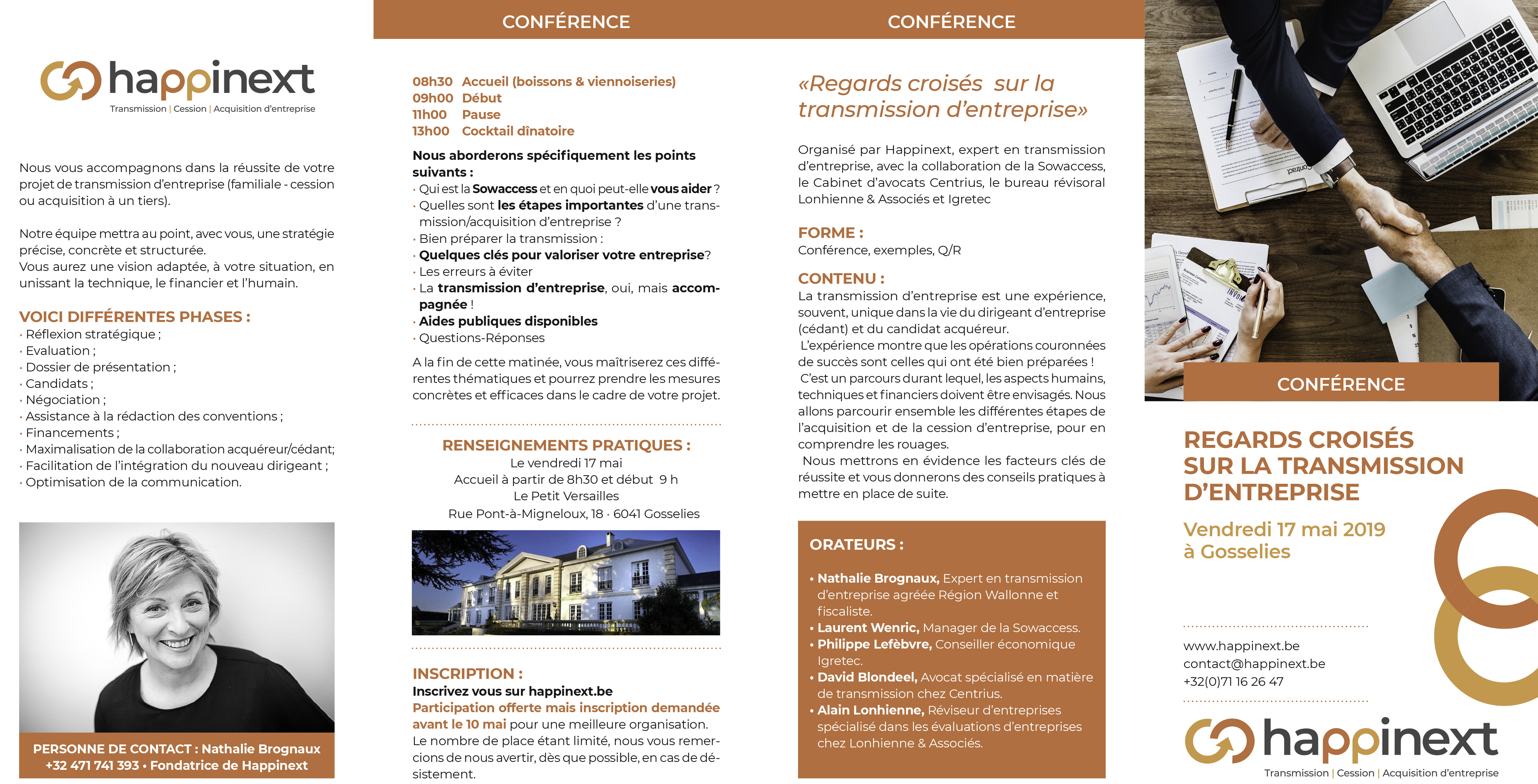 Transmission eentreprise | cession entreprise | acquisition entreprise : Happinext Wallonie (Hainaut-Namur)