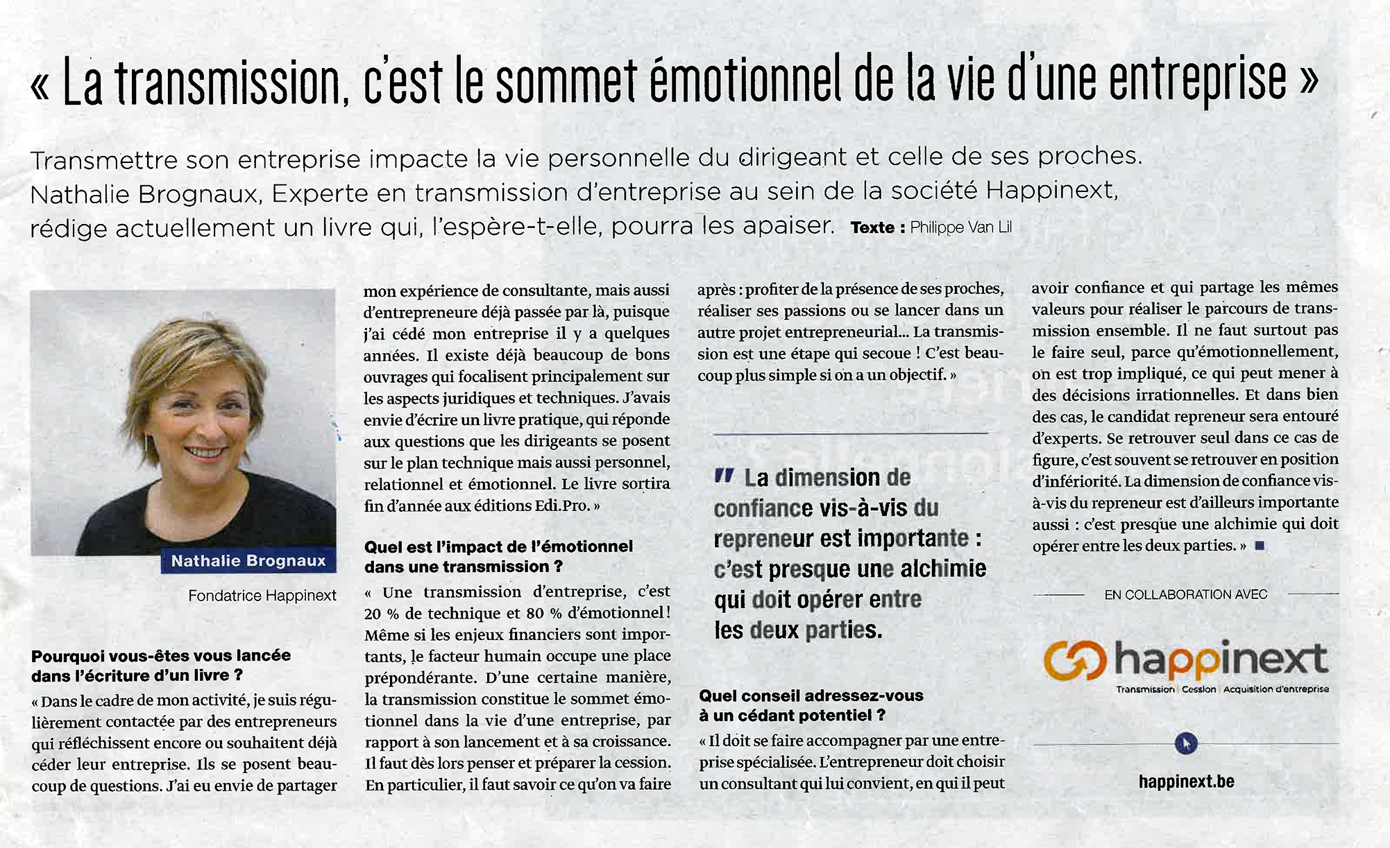 Trends Tendances Article Transmission, cession et acquisition d'entreprise Happinext Nathali Brognaux