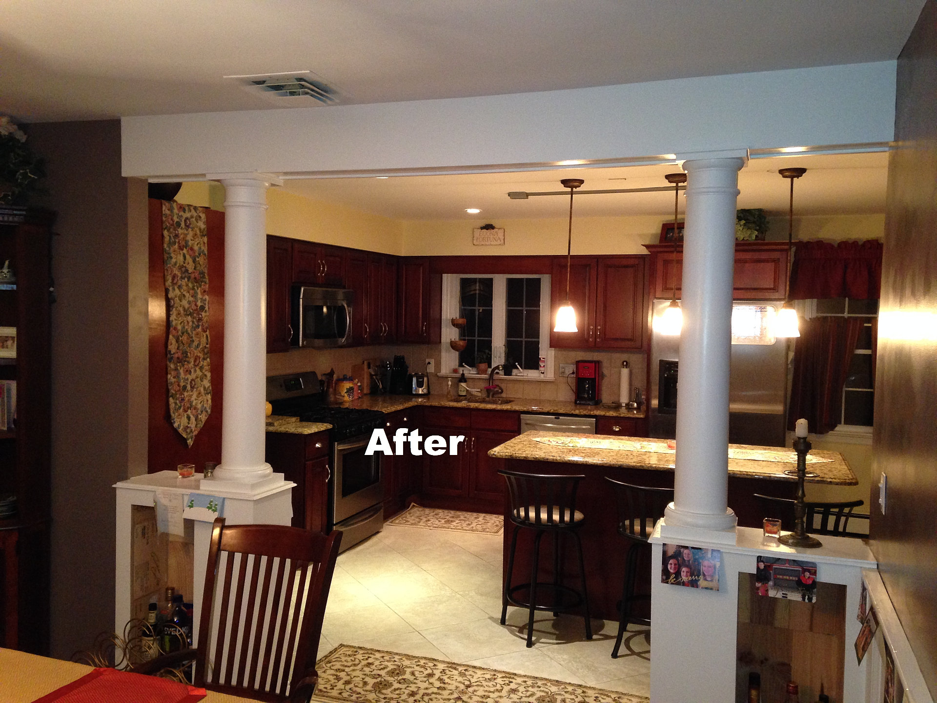 Home improvement contractors joe shadel general contracting dining room columns renovation - Dining room renovation ...