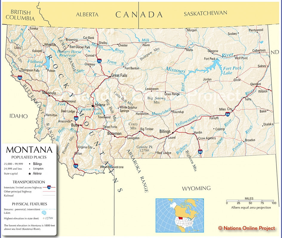 Montana USA Pride Montana Web Cams Facts Maps State Symbols - Montana maps