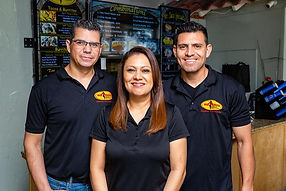 The Mr. Taco Team smiling. In this picture is Chef Tony, Alex and Efren the Owners of Mr. Taco