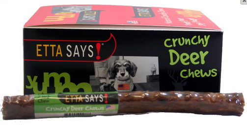 etta says deer chews Etta says 7 inch crunchy deer chews are a unique mixture of rawhide and deer formed into a tasty chewable treat the palatability of these chews ranks high with dogs as a highly sought after treat.
