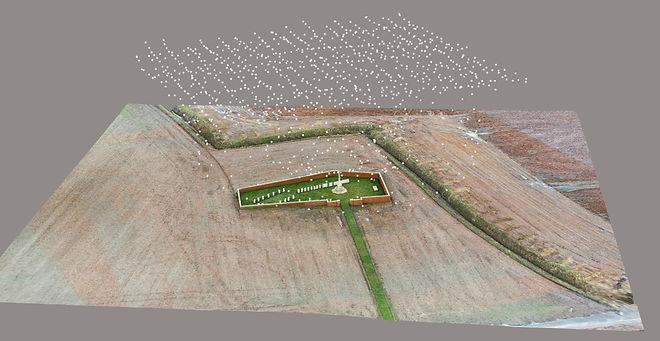 3D-mesh-meshes-RTK-drone-kerkhof-monument-landmeter-begraafplaats-GCP-grondcontrolepunt