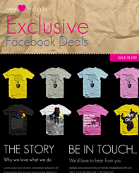 T-shirt Shop Timeline Template - Design a Facebook welcome page ideal for increasing sales through a clear call to action. Promote your online store with your Facebook page. Simply change to match your preferred colors, add your logo, text and images and you're ready to go.