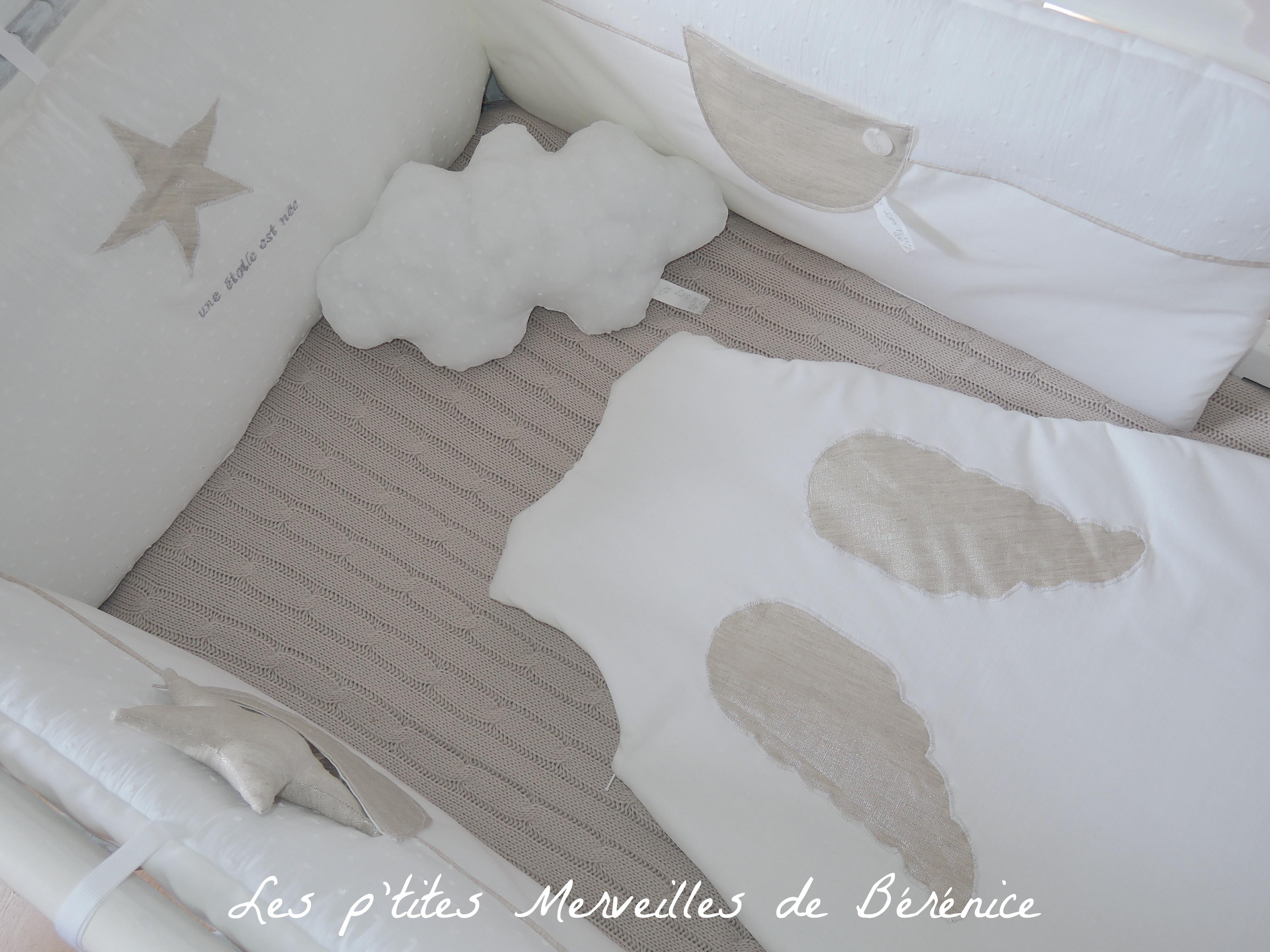 les p tites merveilles de b 233 r 233 tour de lit gigoteuse une 233 toile est n 233 e beige dos