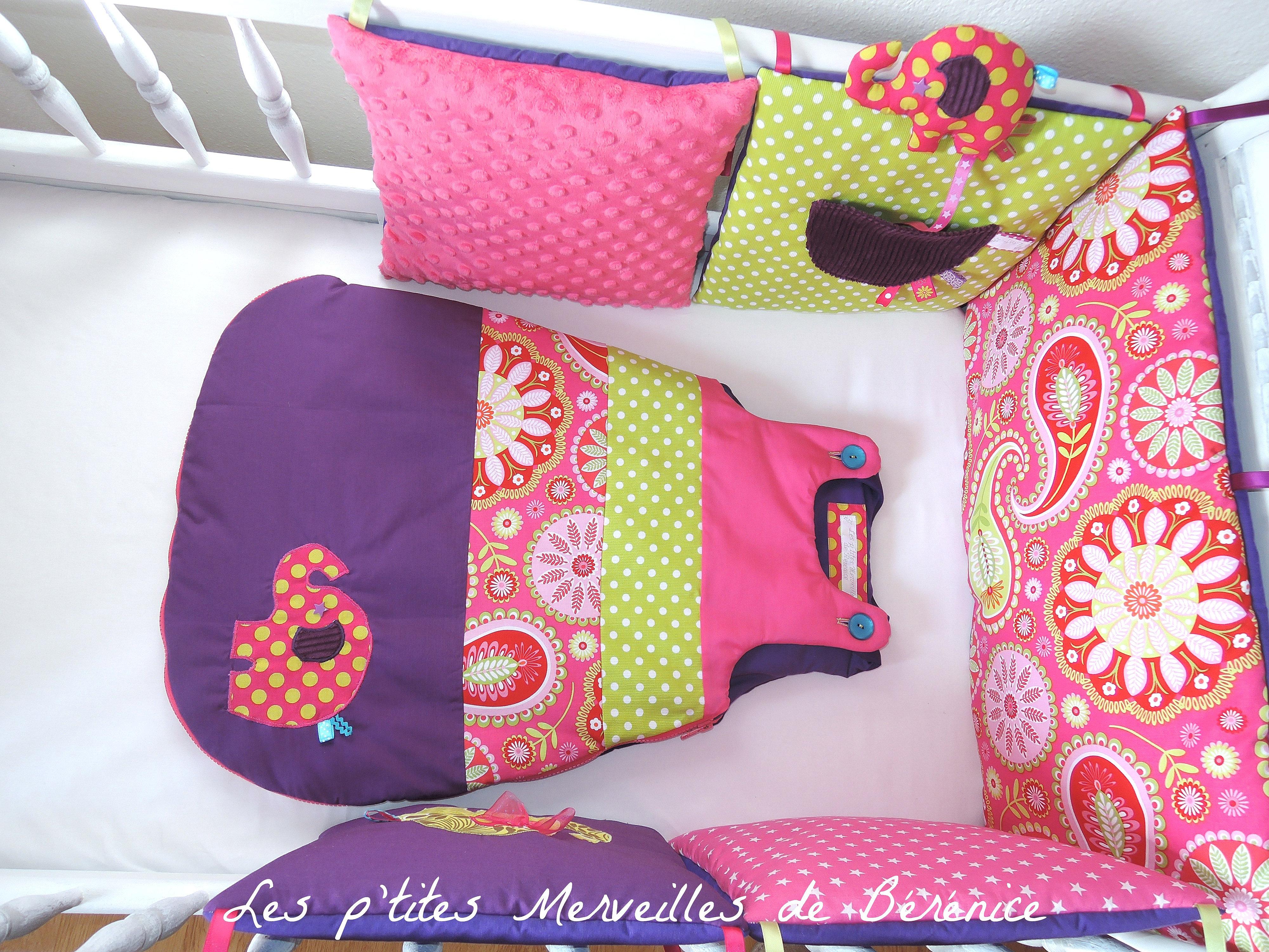 les p 39 tites merveilles de b r nice tour de lit gigoteuse fuchsia violet anis l phant dessus. Black Bedroom Furniture Sets. Home Design Ideas