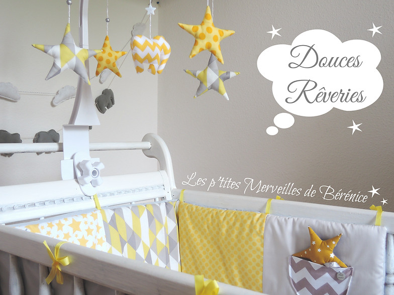 Chambre enfant jaune moutarde et gris id es de for Decoration murale jaune moutarde