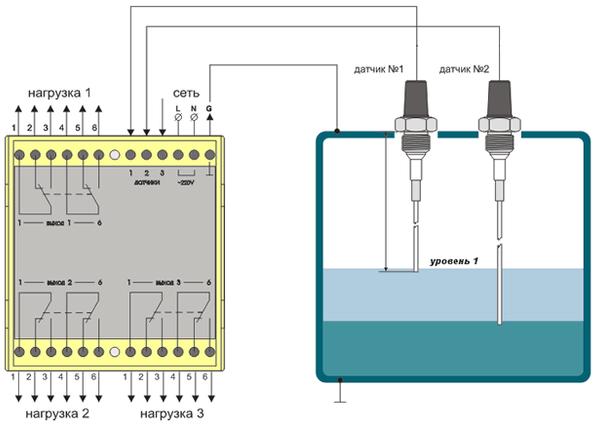 Схема датчика уровня воды с электродами
