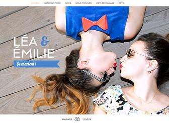 Site de Mariage Template - Invitez vos familles et amis à célébrer votre grand jour avec ce superbe Template de mariage. Partagez votre histoire d'amour, ajoutez des photos de vous et informez vos invités du lieu et de l'heure de la cérémonie. Gérez l'organisation de votre mariage directement depuis votre site !