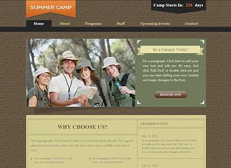 Kids Camp Template - A friendly template featuring rustic colors and an earthy, textured background. Customize the text to introduce your programs, staff and events, and upload photos to share the smiles. Start editing to take your summer camp online!