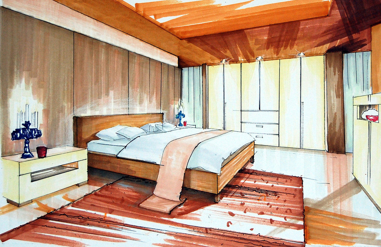 Bedroom drawing with color - Bedroom Rendering