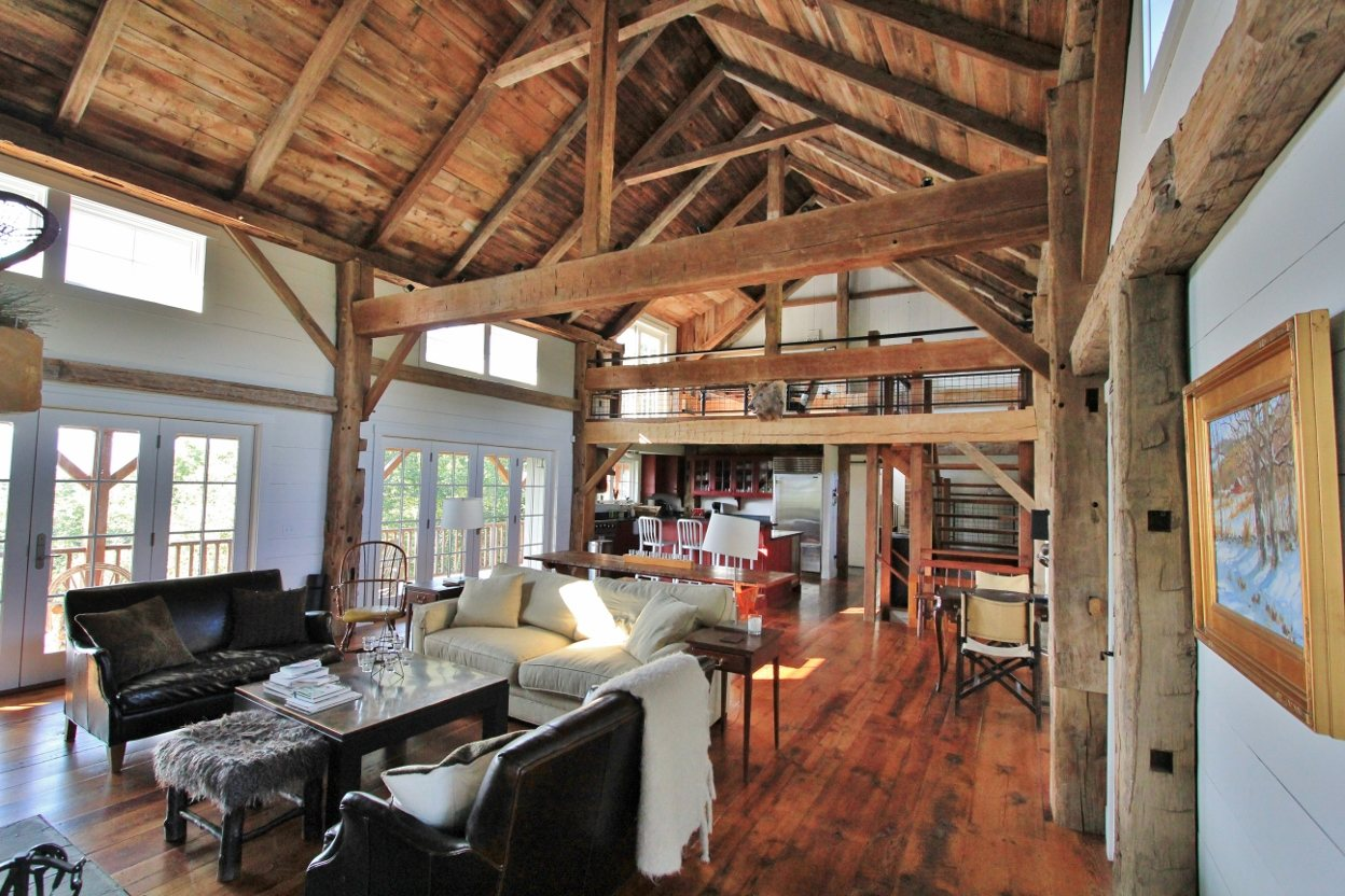 Green mountain timber frames vermont barn homes interior for Barn home interiors