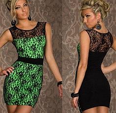vestido encaje negro verde $18000