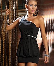 vestido negro cierre hombro $18000