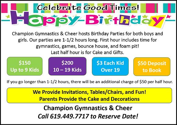 Half Birthday Party Invitations Gymnastics San Diego Champion Cheer Birthdays