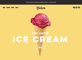 Ice Cream Parlor Template - Customers will flock to your ice cream shop with this bright and vibrant website template. With enticing images and a cool parallax layout, this template is almost ready to go. Simply edit the menu to get mouths watering and upload your own pictures to reel your customers in. Start editing now to get your delicious store on the web!