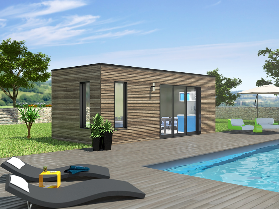 Pool house poolhouse pool house bois habitat bois for Construction pool house piscine