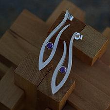 Short Grasses Earrings w. Amethysts